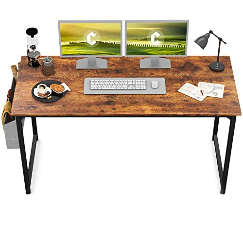 "CubiCubi Study Computer Desk 55"" Home Office Writing Small Desk, Modern Simple Style PC Table, Black Metal Frame, Rustic Brown"