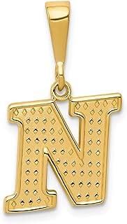 14K黄色ゴールド初期チャーム–メジャー25.7X 20mm–初期オプション: A B C D E F G H I J K L M N O P R S T V W