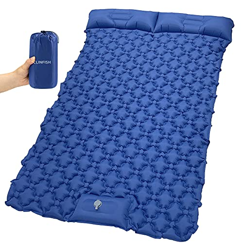 Double Inflatable Camping Sleeping Pad with 2 Pillows, Waterproof Sleeping Mat, Lightweight Portable Air Mattress for Tent Backpacking Hiking Travel