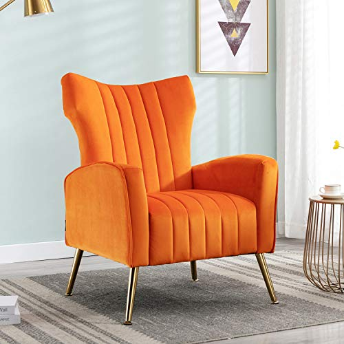 Altrobene Velvet Accent Wingback Chair Curved Tufted Armchair with Gold-Finished Metal Legs Modern Adult Chair for Living Room, Bedroom, Office, Orange