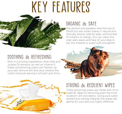Lingettes nettoyantes DhohOo's pour Chien et Chat Yeux, Oreilles, Pattes et Pelage Non parfumées Naturelles Clean Premium (3 Paquets)