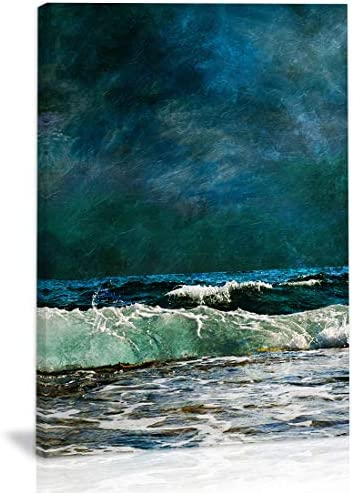 Blue Ocean Wave Seascape Wall Art Decor Modern Abstract Artwork Canvas Painting Prints Pictures product image