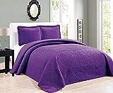 Elegant Home Tagesdecke in Übergröße, dunkelviolett, geprägtes Blumenmuster, gestreift, 3-teilig, Queen/Full-Size (Queen/Full, Dark Purple)