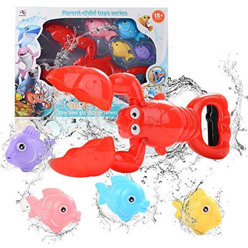 FORMIZON Badespielzeug, Badewanne Spielzeug Kinder, Baby Badespielzeug, Badespielzeug mit 4 Fische, Jungen und Mädchen Bad Spielzeug Geschenk für Kinder Spielzeug (Hummer)