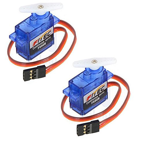 DIYmalls Feetech FS90R 360 Degree Continuous Rotation Micro RC Servo Motor 6V 1.5kg for Arduino Drone BBC Micro:bit (Pack of 2)