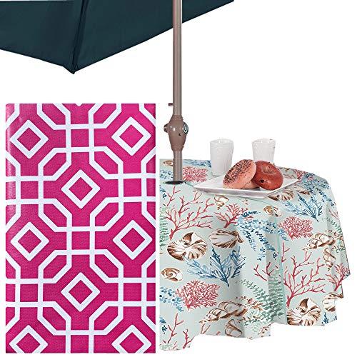 "Newbridge Octavia Contemporary Trellis Design Vinyl Flannel Backed Tablecloth - Octagon Geometric Modern Indoor/Outdoor Vinyl Patio, BBQ and Dining Tablecloth - 70"" Zippered Umbrella Round, Pink"