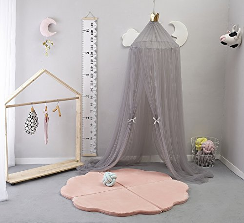 Kids Bed Canopy,Princess Hanging Mosquito Net for Baby Crib Nook Castle Nursery for Kid's Room Decor,Grey
