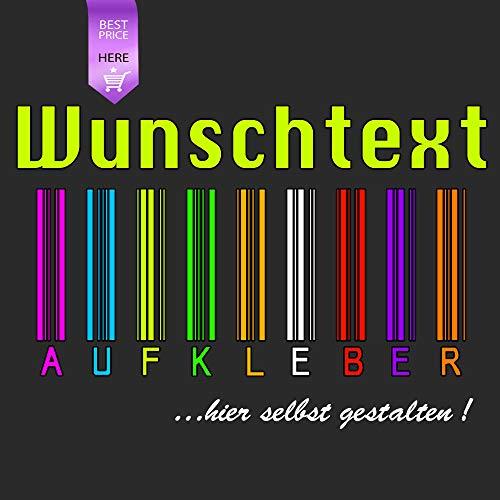 Generisch WUNSCHTEXT Aufkleber MIT VORSCHAUFUNKTION SELBST GESTALTEN BESCHRIFTUNG Spruch Text - Länge 15cm