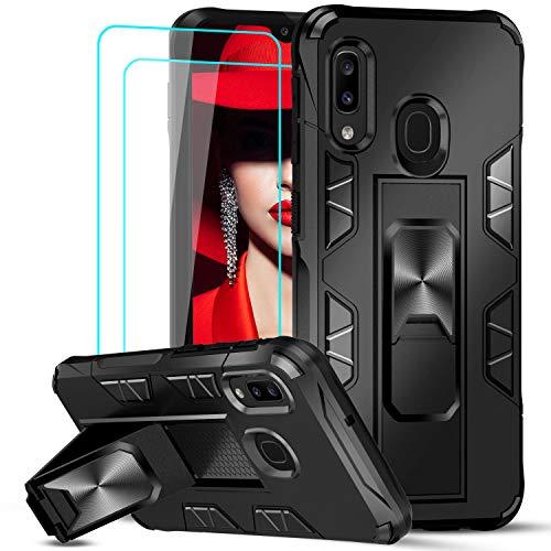 LeYi Hülle für Samsung Galaxy A20e mit [2 Stück] Panzerglas Schutzfolie,Armor Stoßfest Handyhülle Slim Silikon Dünn Magnet Schutzhülle Weich TPU Bumper Cover,Eingebaut Ständer Case für A20e Schwarz