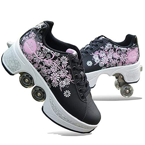 MLyzhe Four-Wheeled Roller Shoes Female Automatic Dual-Purpose Skates Casual Deformation Double-Row Roller Skates,Black,39