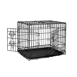 dibea Sturdy 2-door dog crate, folding metal cage, travel box for pets and puppy