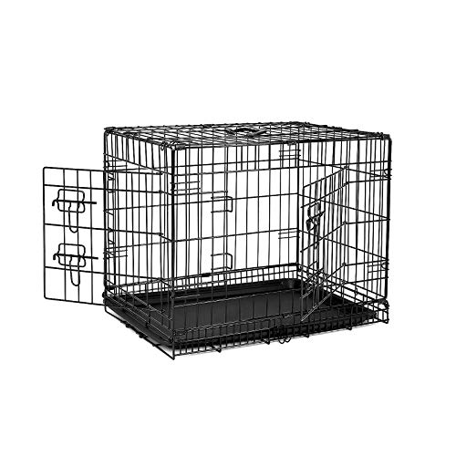 Dibea DC00491, Jaula Plegable de Metal para Perro, Gato y Mascota (2 Puertas), 60 x 43 x 49 cm