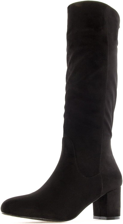 Andres Machado Stiefel in übergren Schwarz AM4080 Ante schwarz groe Damenschuhe