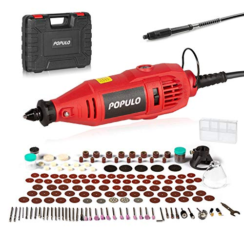 POPULO Power Rotary Tool Kit with 154 Accessories MultiPro Keyless Chuck and Flex Shaft, Engraving, Drill Sanding, Cutting, Polishing for Engraver, Carving, Woodworking and Crafting Tools