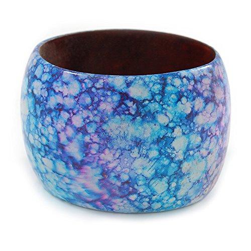 Breiter Armreif aus Holz, hellblau/violett, Marble-Effekt, 20cm groß