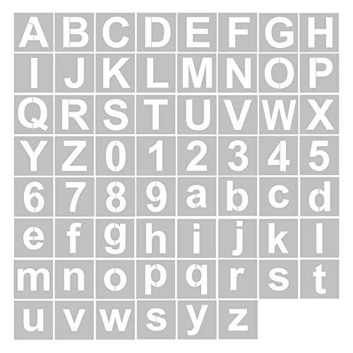 Aibecy Schablonen, Buchstaben und Zahlenschablonen Wiederverwendbare waschbare Alphabet-Schablonen Umweltfreundliche PET-Kunsthandwerksvorlagen zum Malen auf Holzgewebe Wandtür Dekor Home Sign