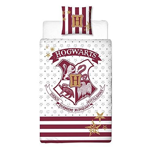 Harry Potter Wende-Bettwäsche Hogwarts Wappen 2tlg 80x80cm 135x200cm Baumwolle Rot weiß