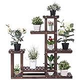 GOFLAME Plant Stand Rack Indoor & Outdoor, Wood Plant Display Rack with Multi Shelves, Flower Pots Organizer Holder, Multifunctional Storage Rack for Patio Garden Yard Bathroom (Walnut)