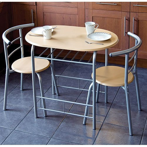 3pc Dining Set, 2Chairs and Table, Metal Frame, Wooden Seat, Beech Furniture by Home Living