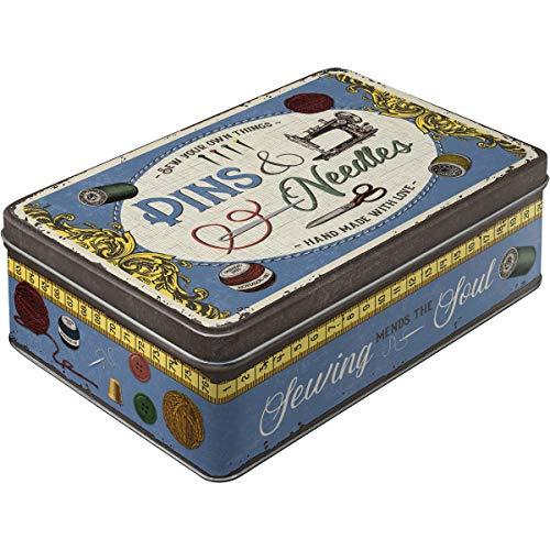 Nostalgic-Art Contenitori di Latta retrò Piatti Pins & Needles Box – Idea Regalo per Amanti della Nostalgia, con Coperchio, Design Vintage, 2,5 l