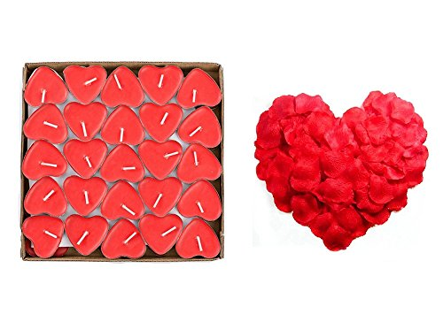 Yalulu 50 Heart Shape Tealights Love Candles Bulk Floating Smokeless Scented Romantic Candles + 1000Pcs Red Rose Petals Valentines Mothers Day Christmas Decoration