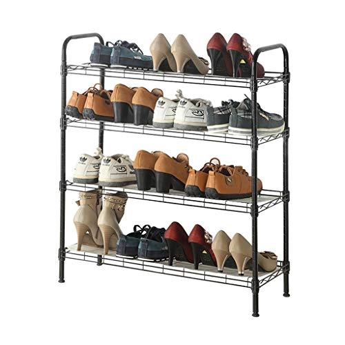 ZZYE Zapatero 4 niveles ajustable zapato bastidor negro gabinete de almacenamiento pasillo almacenamiento de salón organizador estantes permanente estante con almohadilla de polvo en ángulo Perchero Z