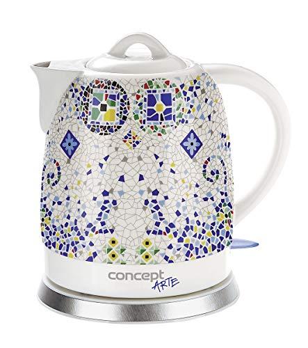 CONCEPT électroménager RK0020 Bouilloire en céramique, 1,5 litre, blanche avec imprimés, design oriental, 1350 W