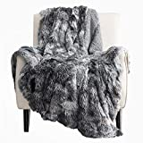 Bedsure Soft Fuzzy Faux Fur Shaggy Blanket Throw Reversible Sherpa Fleece Shag Throw Blanket for Sofa, Couch and Bed - Warm Thick Fluffy Blanket as Gift,Plush Furry Throw (50x60 inches, Grey)