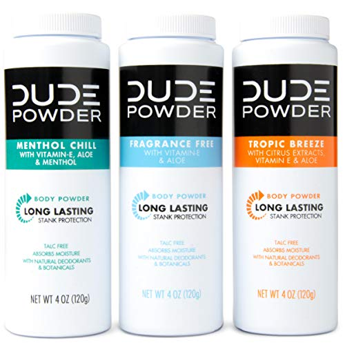 DUDE Body Powder Variety Pack, Tropic Breeze, Menthol Chill & Fragrance Free 4 Ounce (3 Bottle...