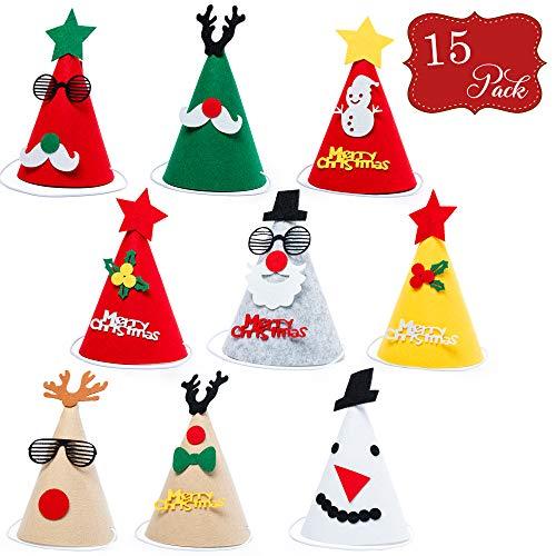 15 Sombreros de fiesta hechos de Fieltro - Gran selección surtida - Ideal para fiestas y ocasiones de Navidad,...