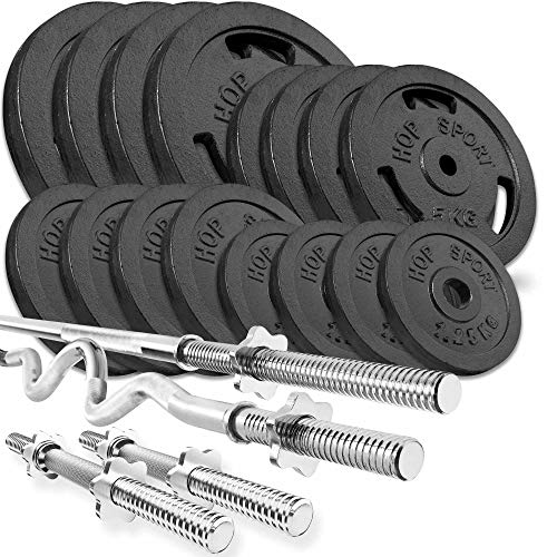 Hop Sport Cast Iron Barbell Set 96kg: 1x Barbell, 1 Super EZ Curl Bar, 2x Dumbbell with 16 Iron Weight Plates - Weight Lifting Set for Bodybuilding - Home Gym Equipment for Training Bench