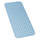 HP-YSH Alfombrilla Ducha Antideslizante,Alfombrillas de baño Extra largas,con Ventosas y Orificios de DrenajeAntideslizantes Almohadilla,para baño Lavable a máquina,Azul,88x40cm