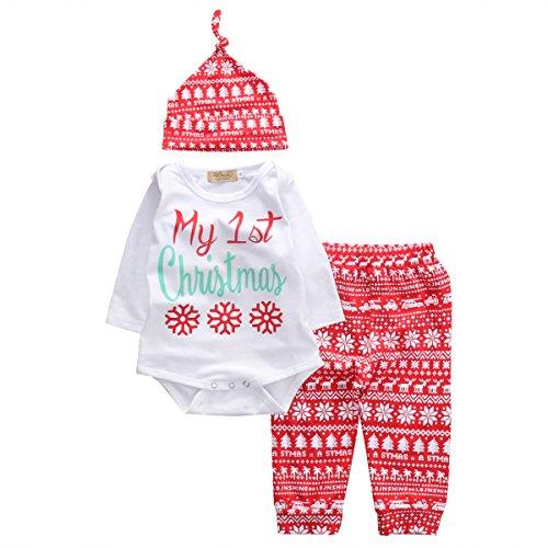 Bebé Disfraz de Navidad para Recién Nacido Mi Primera Navidad Conjunto de Ropa Navideña para Niños Niñas Pequeños Top Mameluco de Manga Larga + Pantalones (Nieve, 0-3 Meses)
