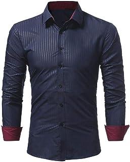HX fashion Camisa De Hombre Sólido Raya Color Moda Hombre Casual Tamaños Cómodos Manga Larga Hombres Moda