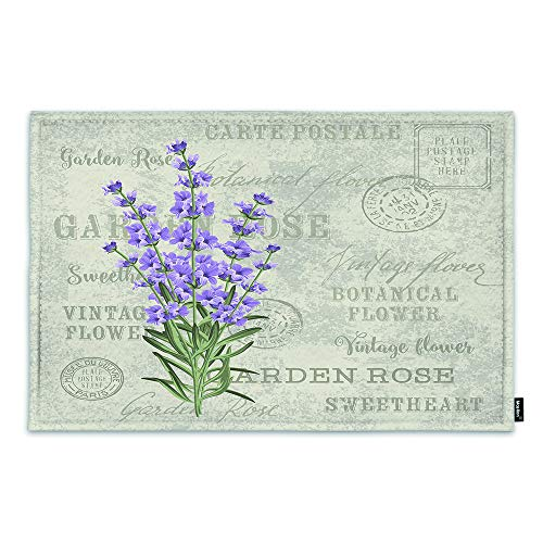 Moslion Vintage Flowers Lavender Door Mat Provence Purple Floral Retro French Country Stamp Non Slip Funny Doormat for Outdoor Indoor Decor Entry Rug Kitchen Bedroom Mat 18 x 30 Inch
