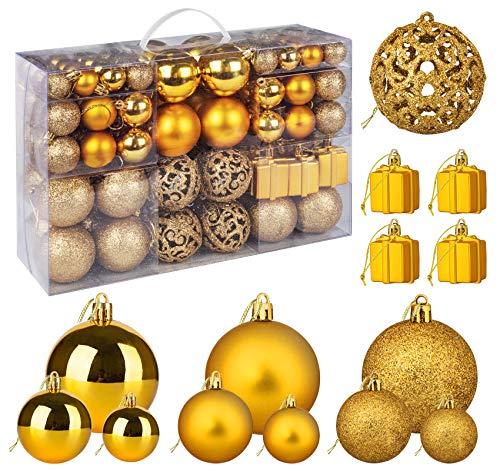 ilauke Christbaumkugeln Set 105 Teilig Weihnachtskugeln Gold aus Kunststoff - Weihnachtsbaum Deko Anhänger & Christbaumschmuck in Unterschiedlichen Größen für Weihnachtsbaum Party Home Hochzeit