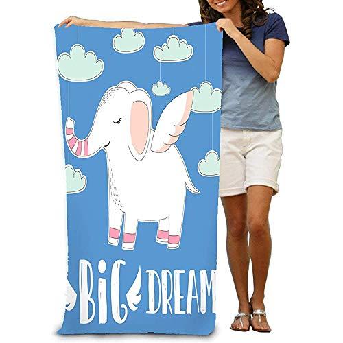 chillChur-DD Bath Towel Badetuch Erwachsene Mikrofasertuch Badetuch Cute Baby Elephant Wings Himmel Wolken Hintergrund Handgezeichnete Big Dream Quote Fashion Print Desi