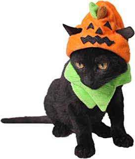 MUYAOPET Halloween Dog Pumpkin Costume Hats Dress With Scarf for Dogs Cats Festival Costumes