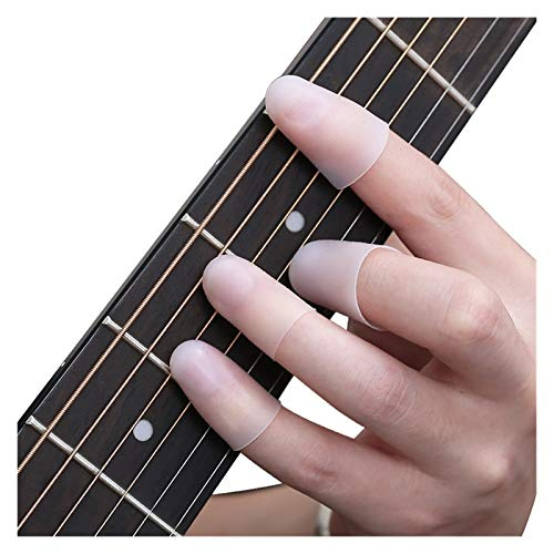 Protectores de yemas de los dedos 10pc Guitarra Cadena dedo Dedo Protector Protector Protector Silicona Mano izquierda Protección dedo Presione Piezas de Guitarra Accesorios para guitarra eléctrica de