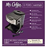Mr. Coffee Automatic Dual Shot Espresso/Cappuccino System 11 15-bar pump system uses powerful pressure to extract a dark, rich espresso brew Frothing arm makes creamy froth to top off your cappuccinos and lattes Make 2 single shots at once with dual-shot brewing. Watts: 1250