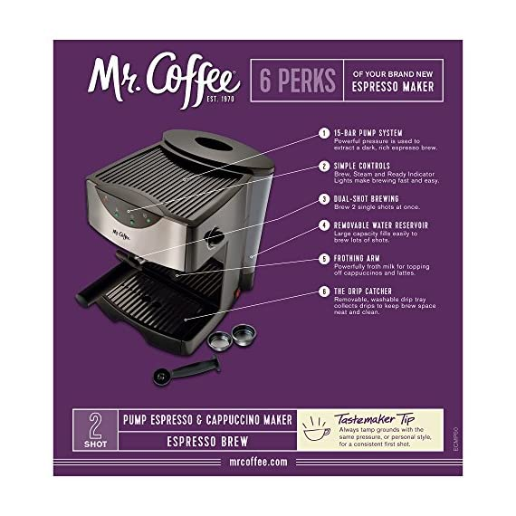 Mr. Coffee Automatic Dual Shot Espresso/Cappuccino System 2 15-bar pump system uses powerful pressure to extract a dark, rich espresso brew Frothing arm makes creamy froth to top off your cappuccinos and lattes Make 2 single shots at once with dual-shot brewing. Watts: 1250