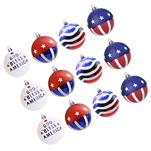 SOIMISS 12pcs 4th of July Hanging Balls Plastic Red White And Blue Balls Independence Day Ball Ornaments Christmas Tree Baubles Patriotic Decorations Party Supplies Favors Gift 6cm