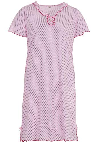 Zeitlos Nachthemd Kurzarm Sommer Punkte Schlafshirt Rüschen, Farbe:rosa, Größe:2XL
