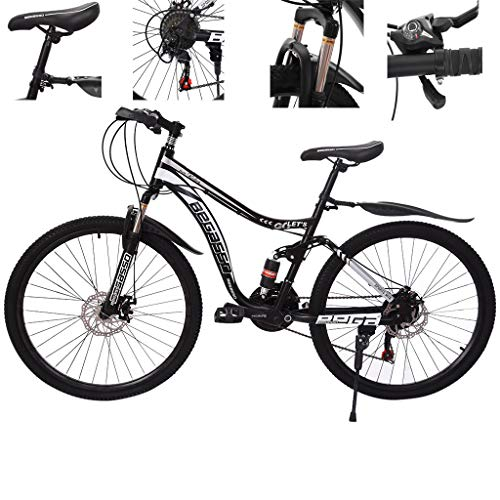 Zhousir 26in Mountain Bikes 21 Speed Bicycle Full Suspension MTB Bikes | Mountain Bike | Adult Mountain Bike | All-Terrain Mountain Bike | Road Bikes, for Unisex Men and Women, UK Shipping (Black)