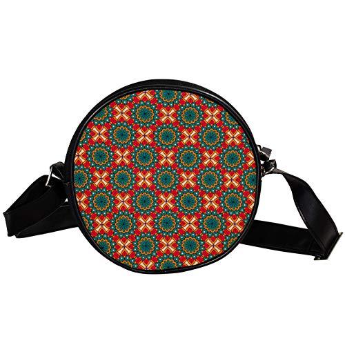 Bandolera redonda pequeña bolso de mano para mujer, bolso de hombro de moda, bolso de mensajero de lona, riñonera, accesorios para mujer, mandala, verde y rojo