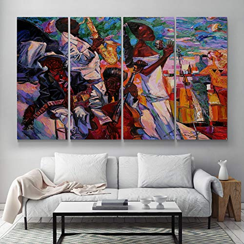 Meteor Gallery Afro Classic Jazz, Abstract Dancing African People Canvas, Black People Colorful Artwork, African Abstract Oil Painting Decoration Canvas 4 Panels : 95x48 inches (240x120cm)