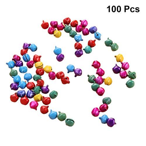 LIOOBO 100 Piezas mezclan Coloridas cascabeles de Navidad - 14 mm pequeña Campana de Bricolaje - Campanas...