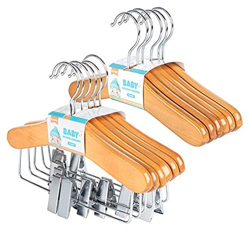 Grucce in legno per bambini, 6 grucce con morsetti scorrevoli + 6 grucce per top in legno 25 cm, classici e solidi, di alta qualità, grucce per neonati con picchetti girevoli a 360°, colore naturale