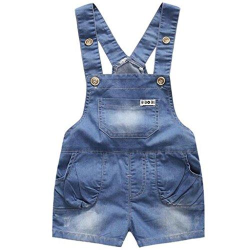 Bebé Peto con Pernera Corta - Pantalones de Peto Vaqueros Niños Niñas Overalls Pantalón Ajustable 12-18...