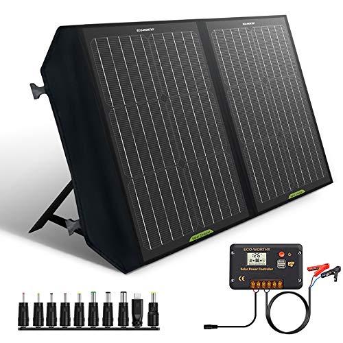 ECO-WORTHY 60W klappbares Solarpanel mit Laderegler, DC-Ausgang, tragbares Laden für den Außenbereich, faltbar in der Tasche für Wohnmobile/Camping/Wandern/Tablets/Smartphones/Laptops